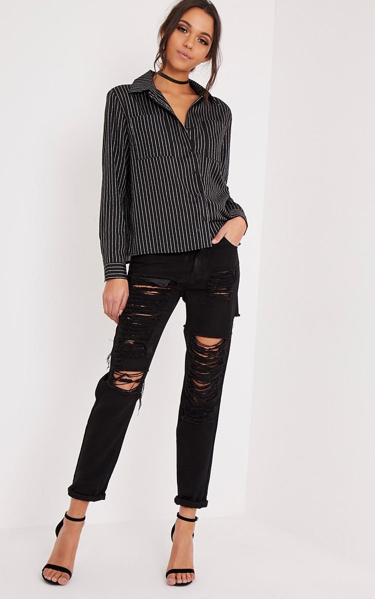 Bethany Black Soft Stripe Shirt 5