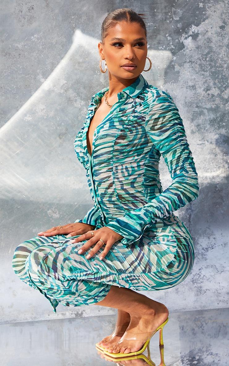 Green  Zebra Print Mesh Ruched Long Sleeve Midi Shirt Dress 1