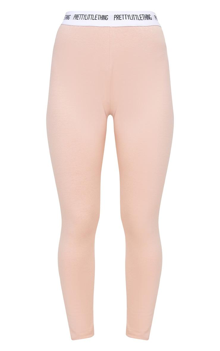 PRETTYLITTLETHING Petite Nude Slogan Waistband Leggings 3