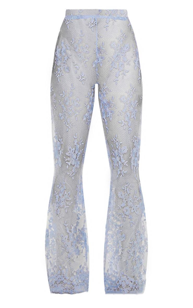 Dusty Blue Sheer Lace Flare Leg Pants 3