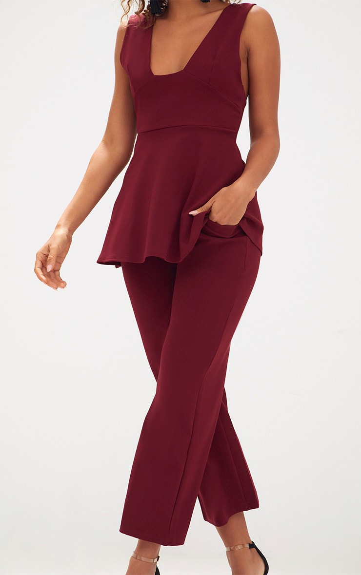 Deep Berry Cropped Wideleg Trousers 5