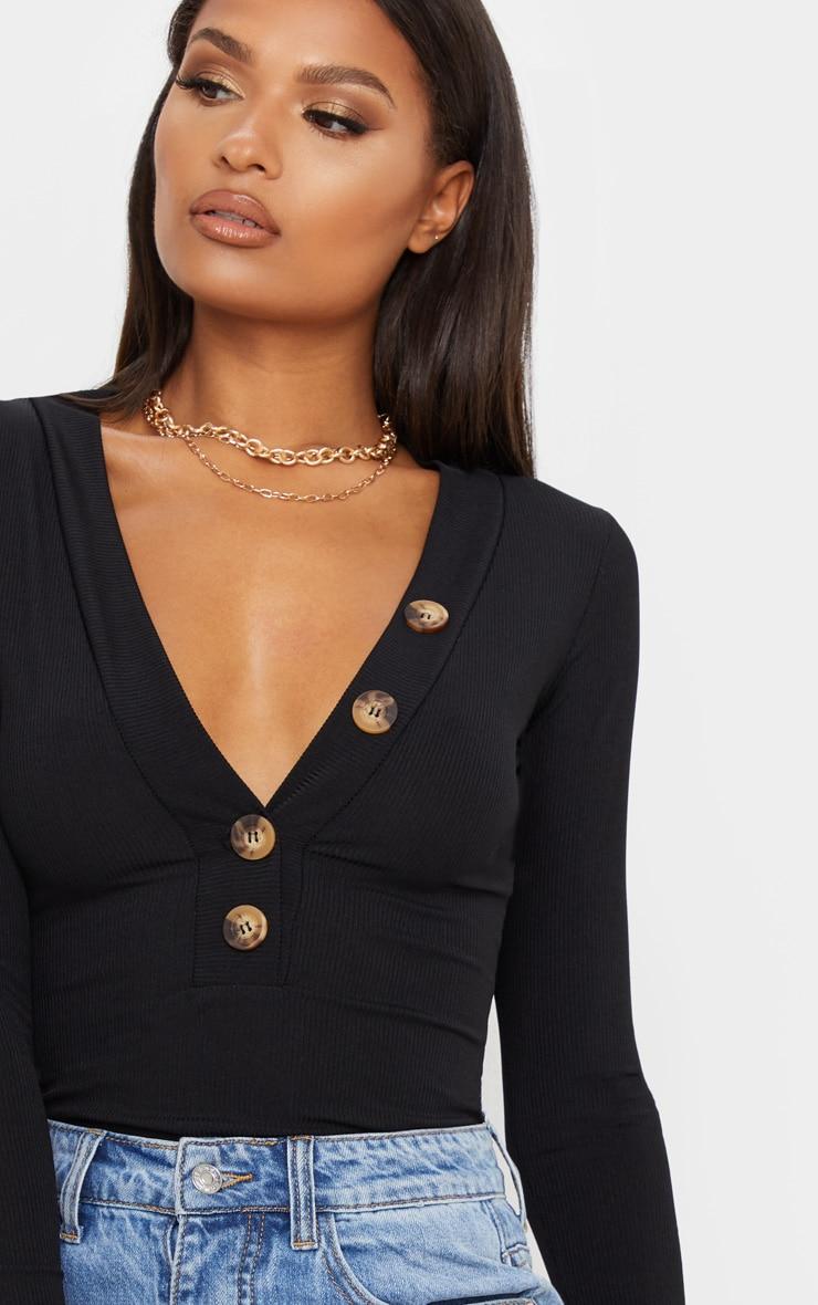 Black Rib Button Plunge Detail Long Sleeve Top 5