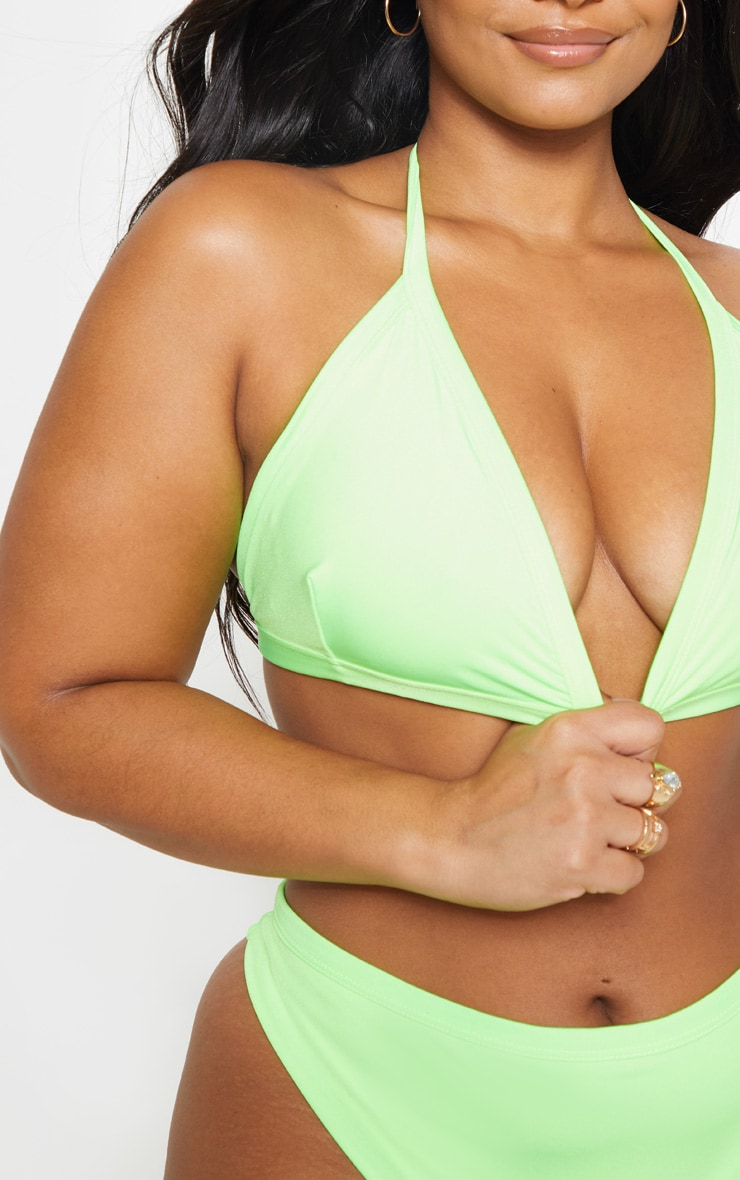Plus Neon Lime Seam Detail Triangle Bikini Top 5