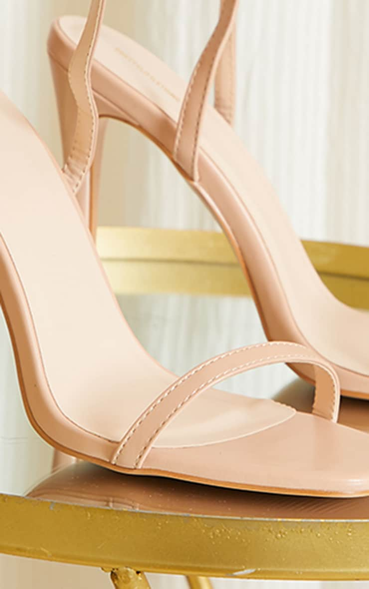 Nude PU Square Toe Barely There Strappy High Heels 4