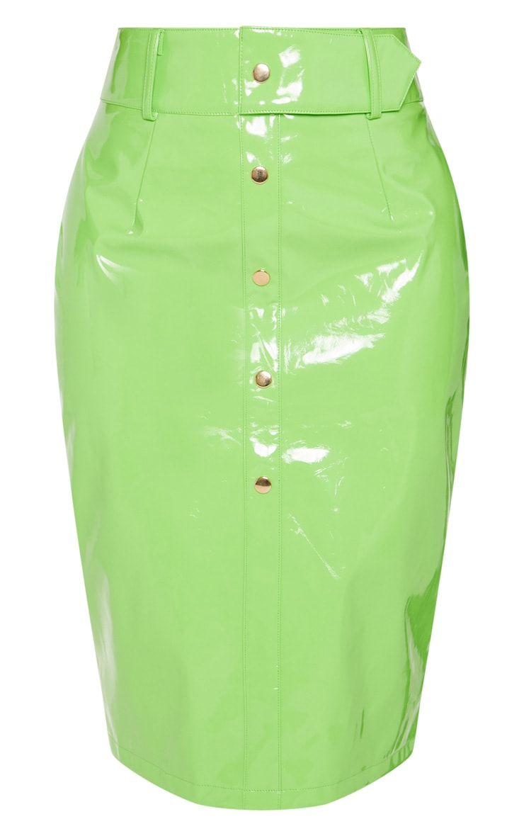 Shape Neon Lime PU Button Front Midi Skirt  3