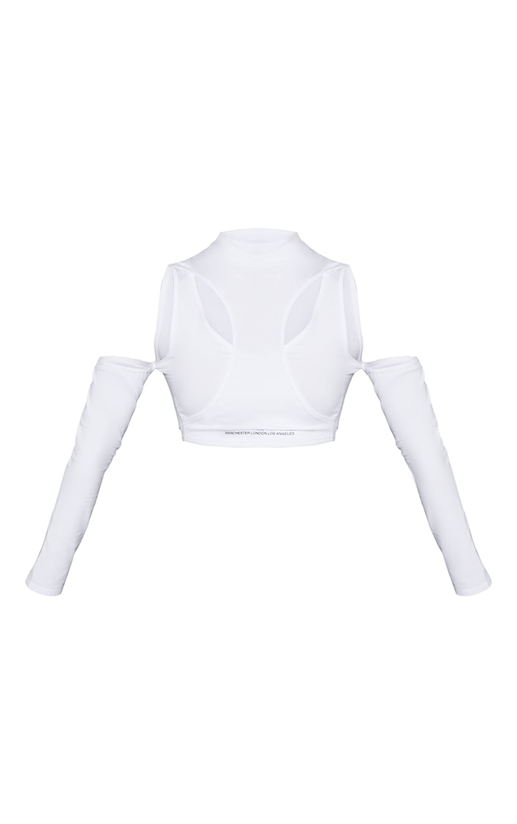 PRETTYLITTLETHIING White Tape Cut Out Bardot Crop Top 5