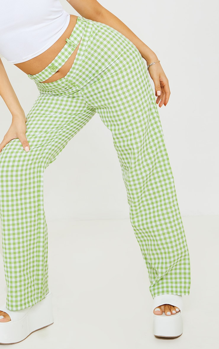 Petite Green Gingham  Cut Out Waist Band Detail Trousers 4