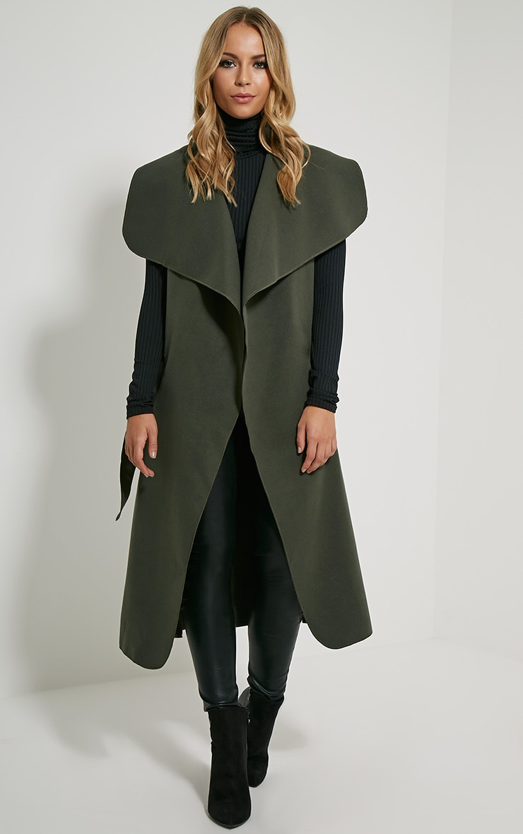 Valerie Dark Khaki Sleeveless Waterfall Coat 1