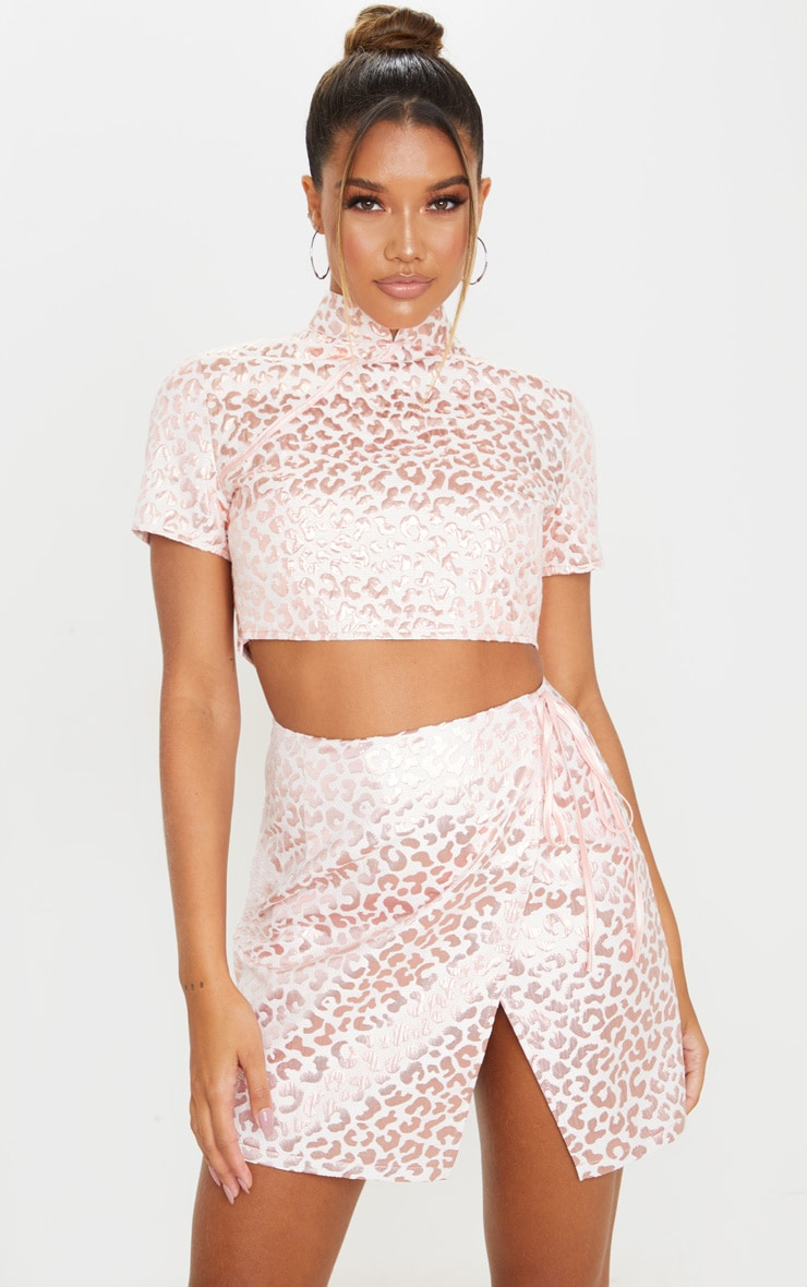 Pink Foil Print Oriental Wrap Detail Mini Skirt 4