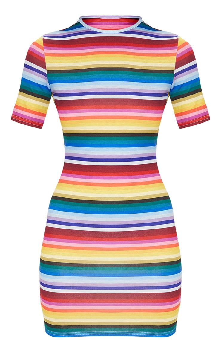 Multi Rainbow Stripe Short Sleeve Bodycon Dress 3
