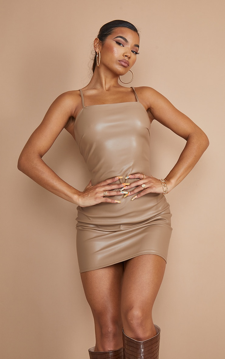Nude PU Strappy Lace Up Back Bodycon Dress 3