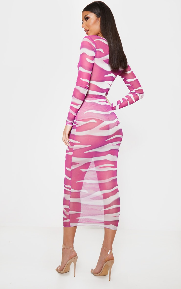 Pink Zebra Print Mesh Cut Out Midi Dress 2