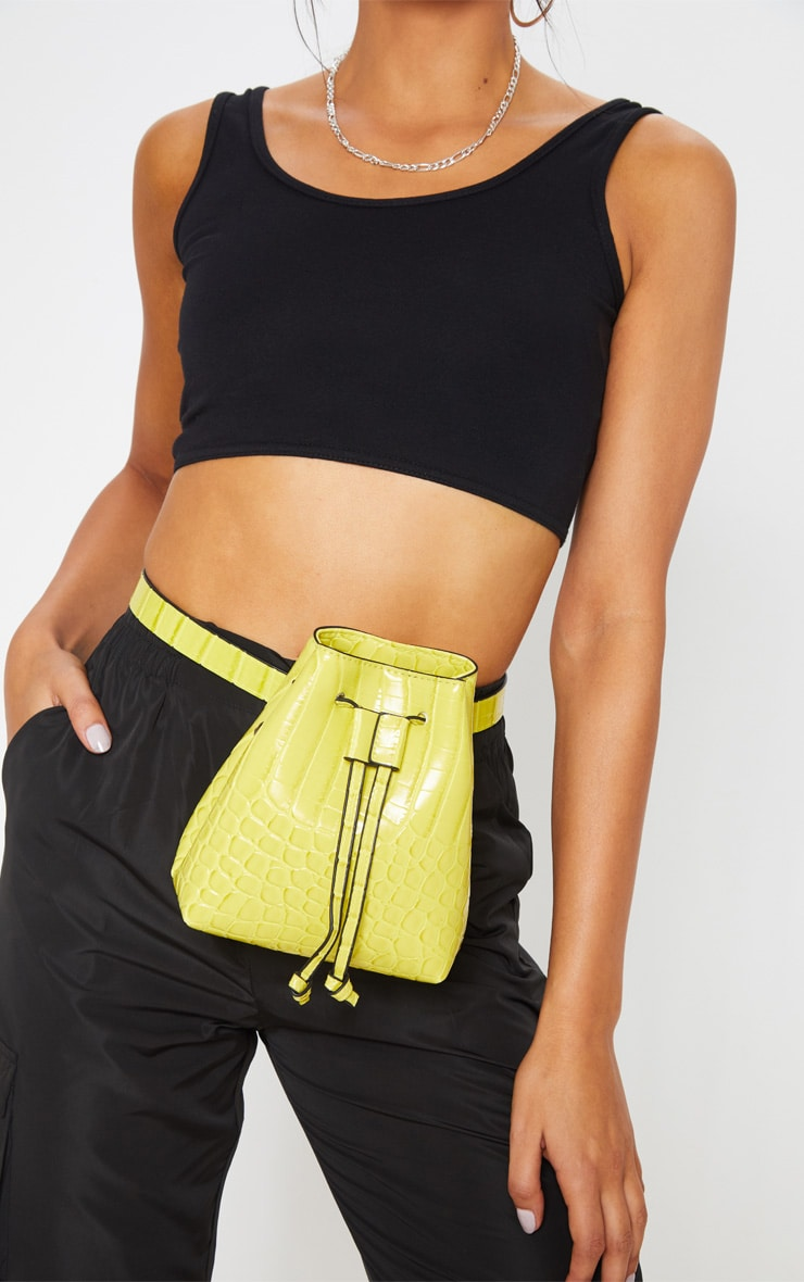 Lime Croc Bum Bag Cross Body