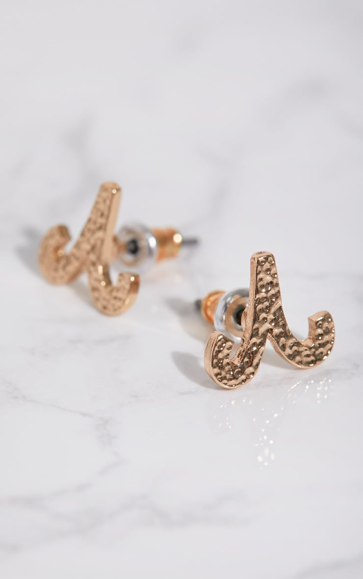 Gold Zodiac Aries Stud Earrings 3