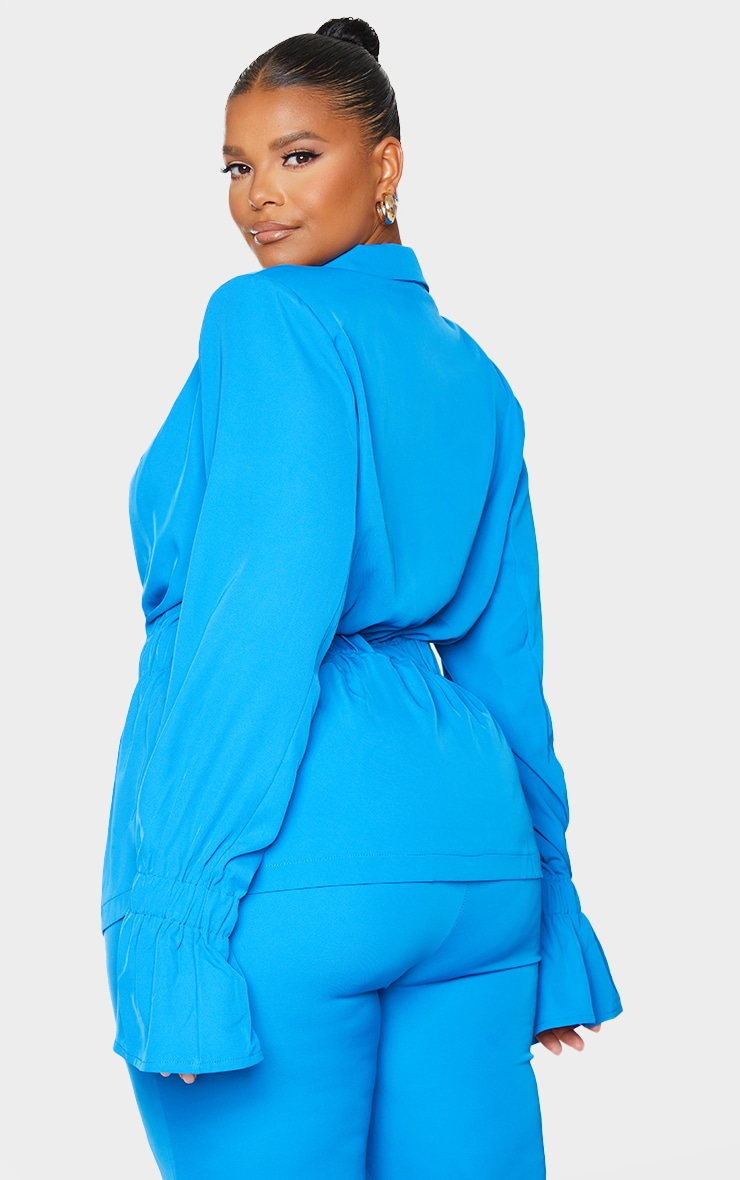 Plus Blue Oversized Elasticated Waist Woven Blazer 2