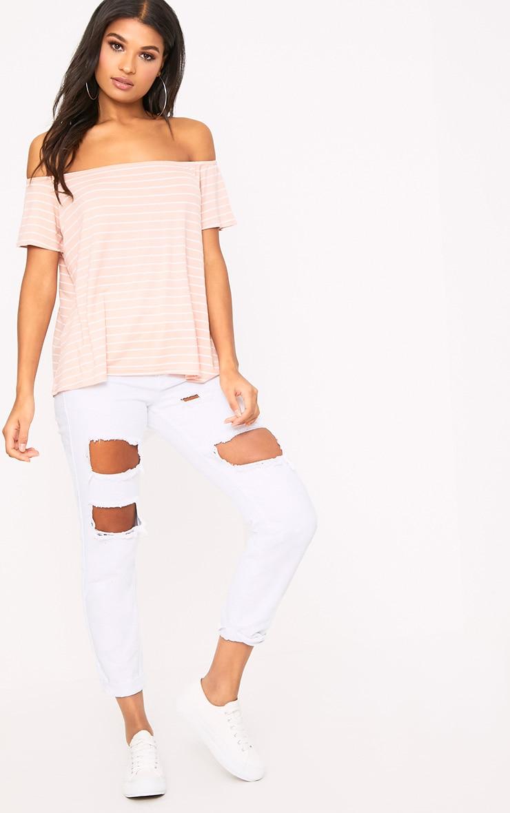 Pink Stripe Bardot Top 4