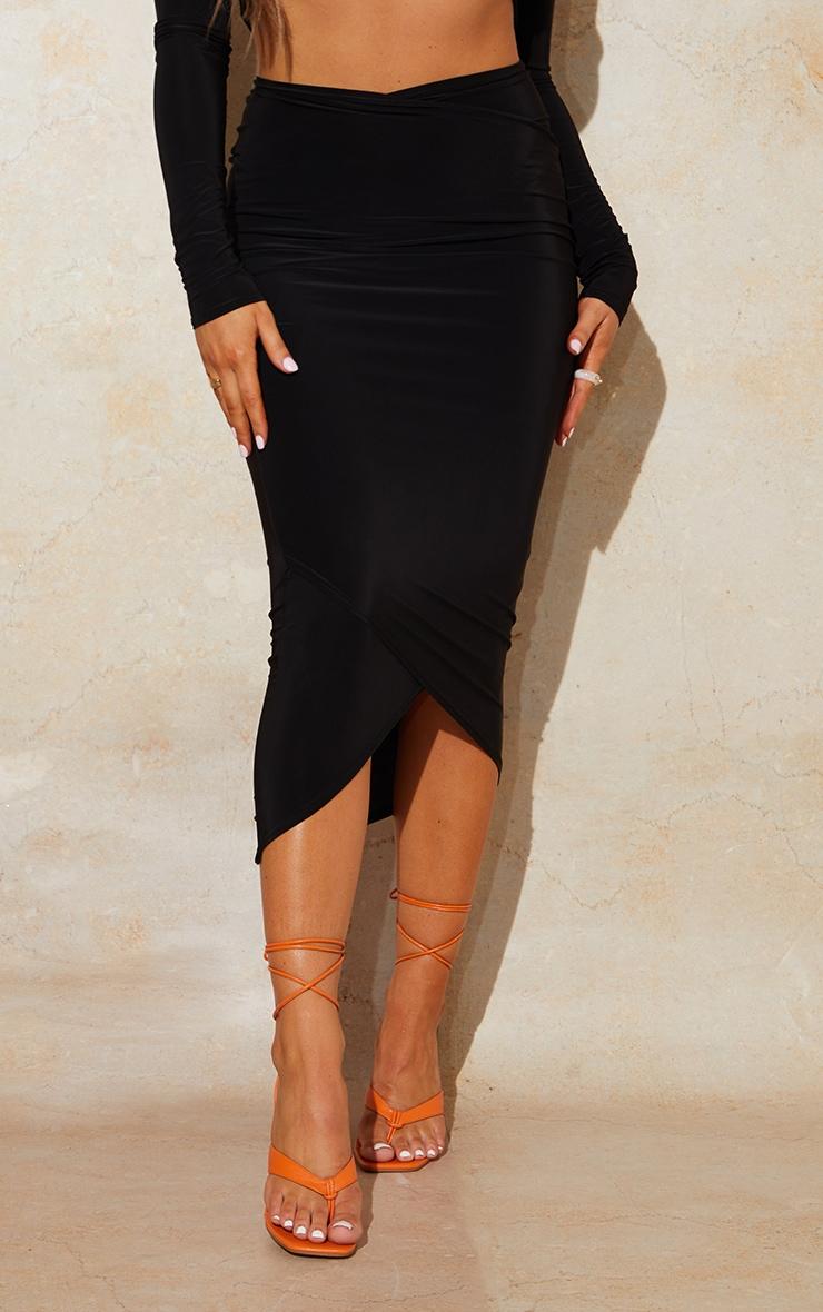 Black Slinky Wrap Round Midaxi Skirt 2