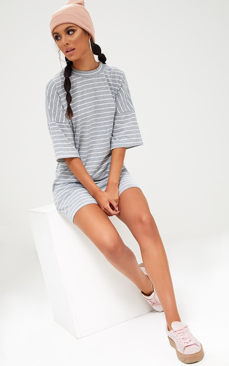 Grey Striped Oversized T Shirt Dress 4