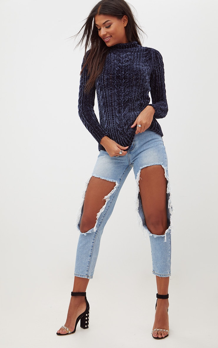 Blue Chenille Cable Jumper 4