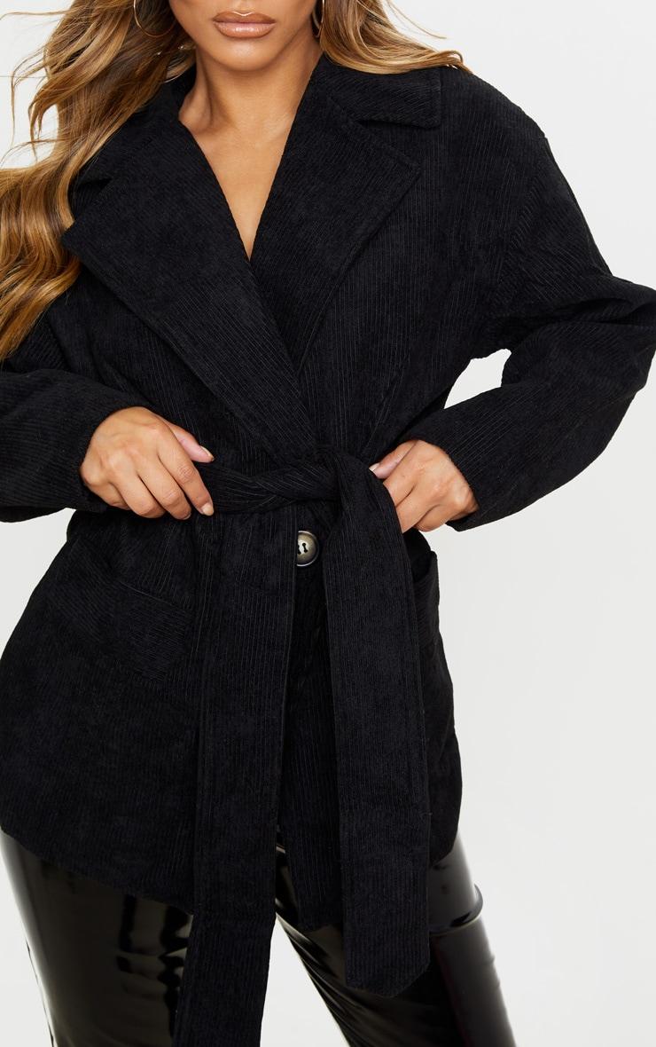 Petite Black Cord Collar Tie Waist Jacket  5