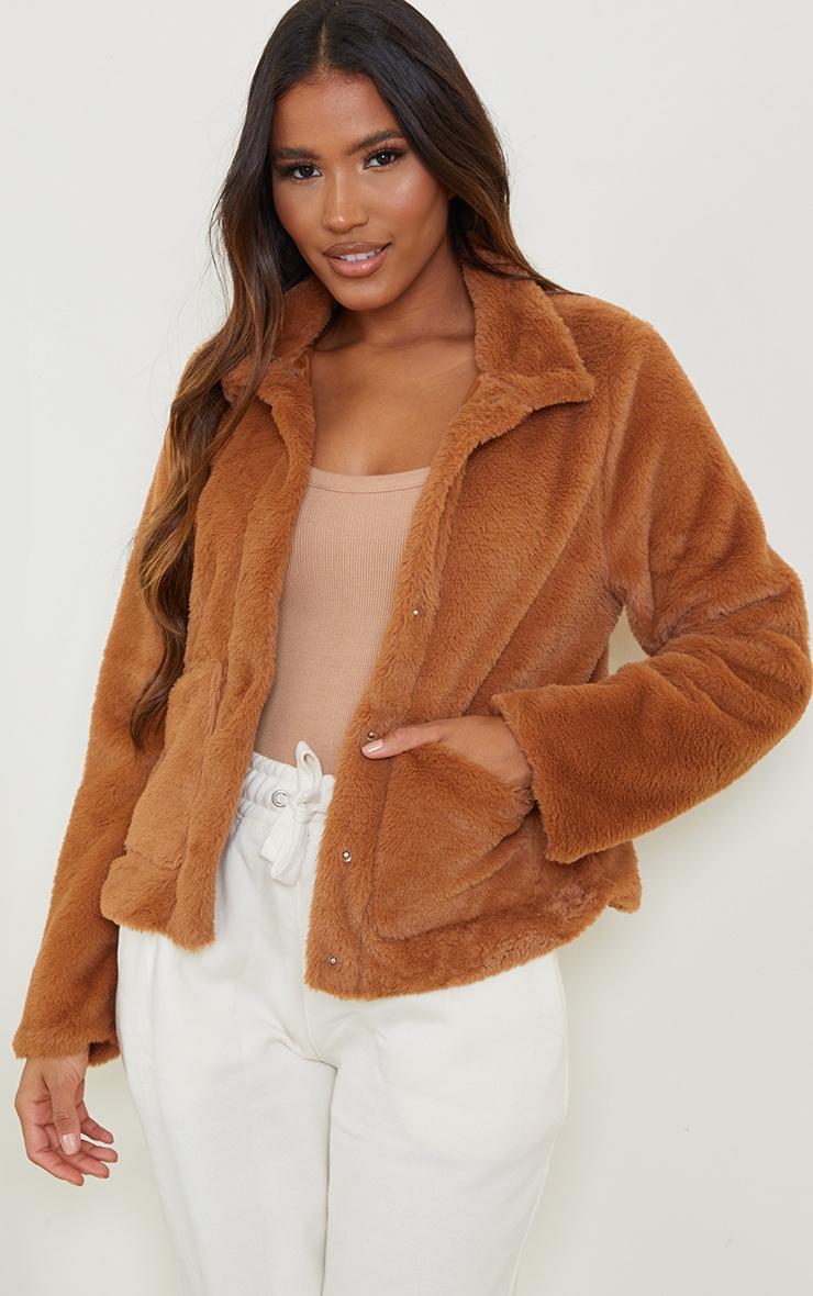 Veste en fausse fourrure marron à poches 1