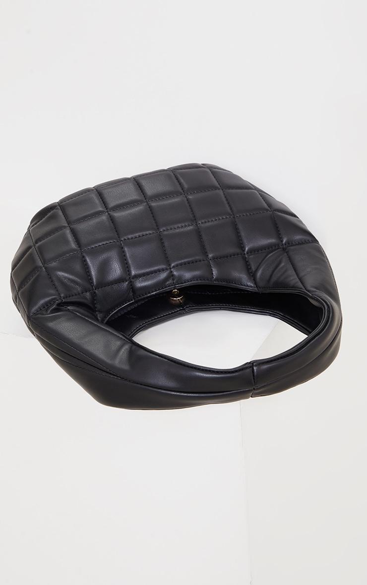 Black Quilted Rounded Shoulder Bag 3