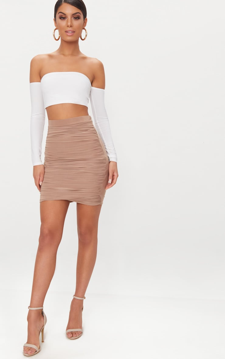White Slinky Bardot Long Sleeve Crop Top  4