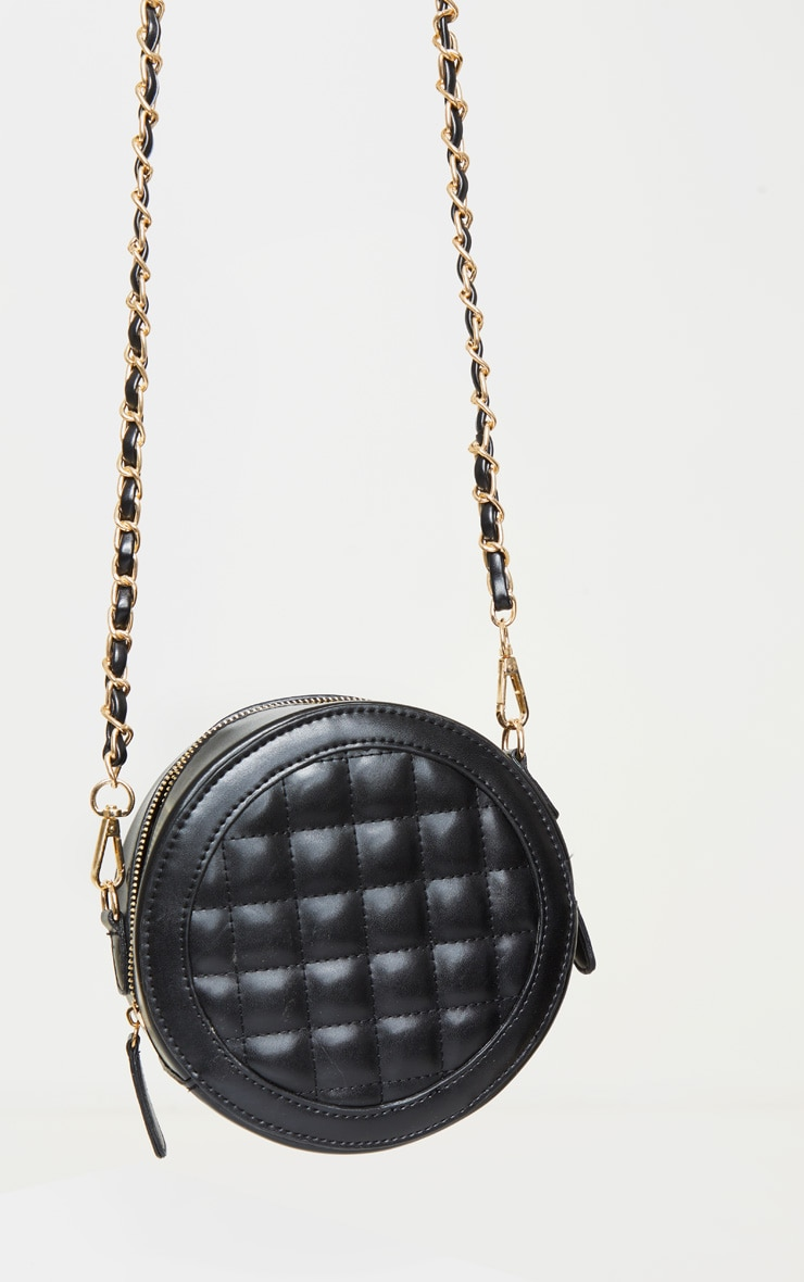 Black Quilted PU Circle Cross Body Bag 4
