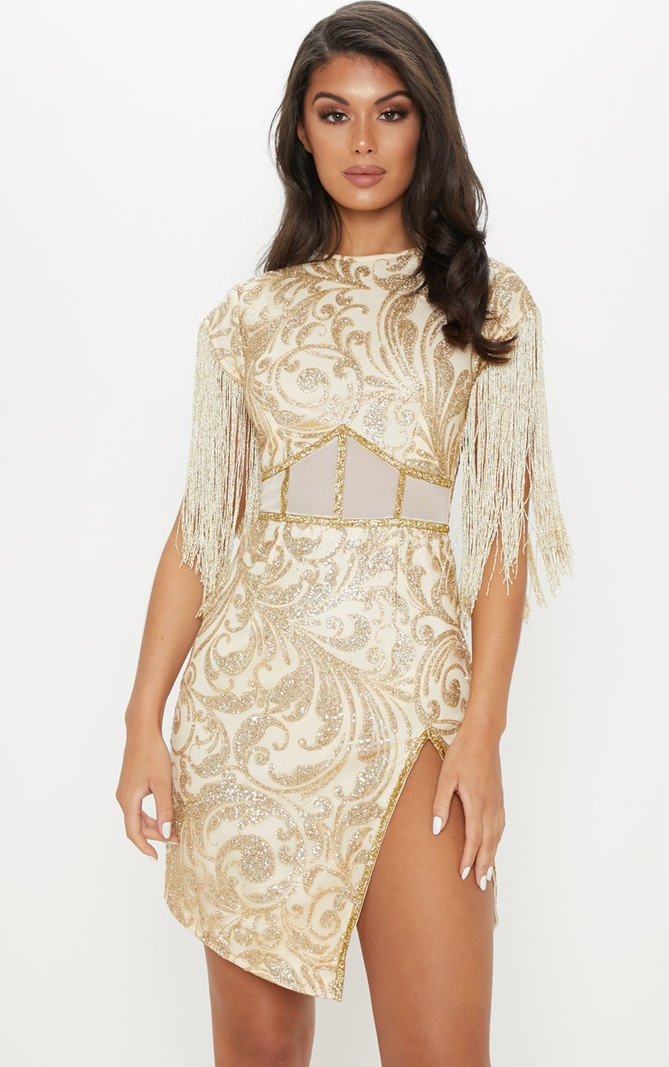 Gold Glitter Mesh Insert Tassel Sleeve Bodycon Dress 1