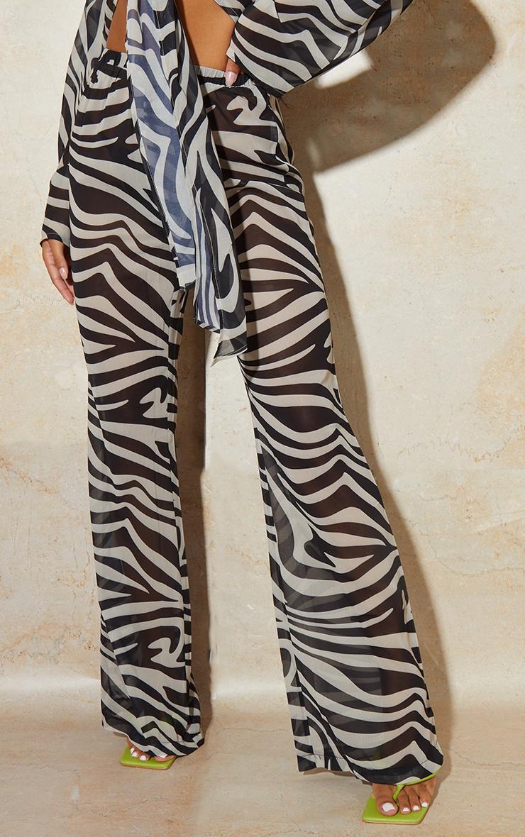 Black Zebra Print Chiffon Elastic Waist Wide Leg Trousers 2