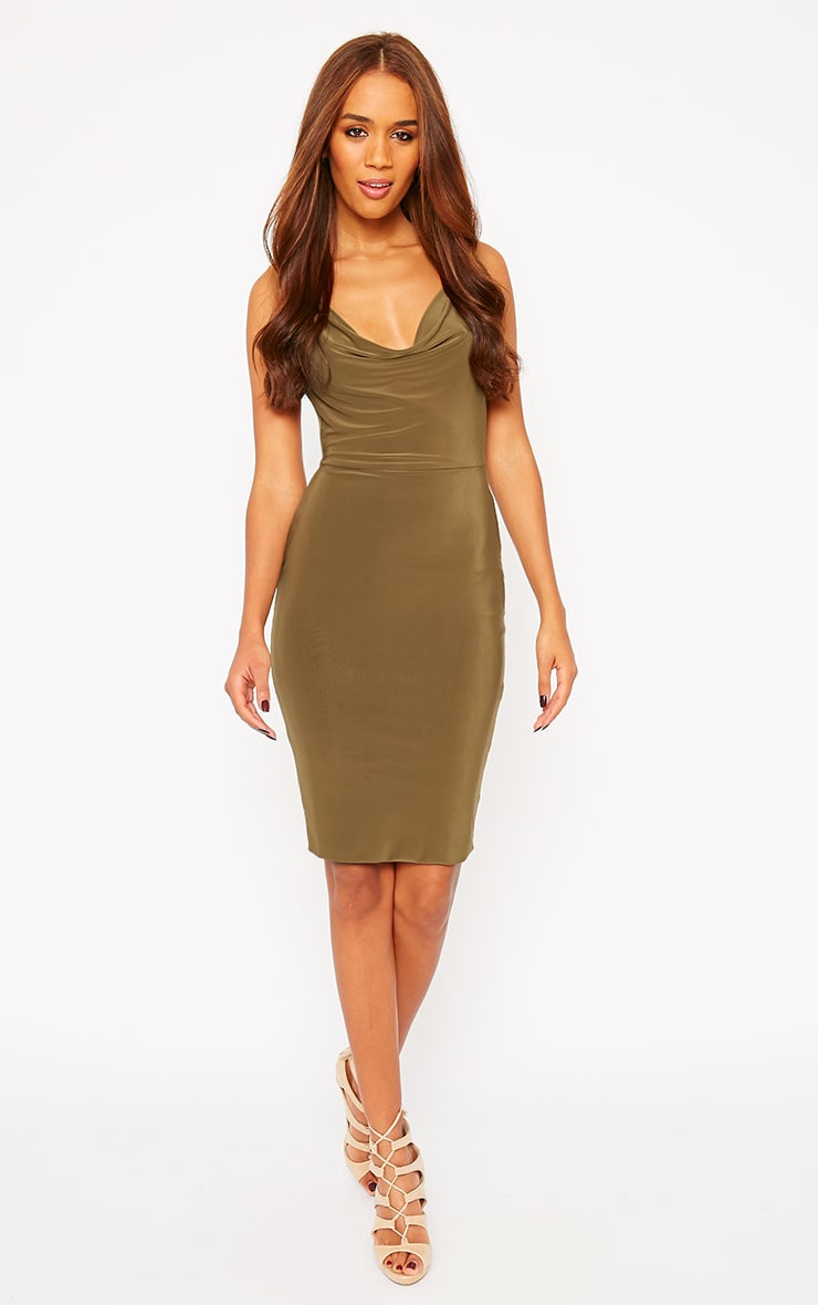 Orion Khaki Slinky Cowl Neck Dress 5