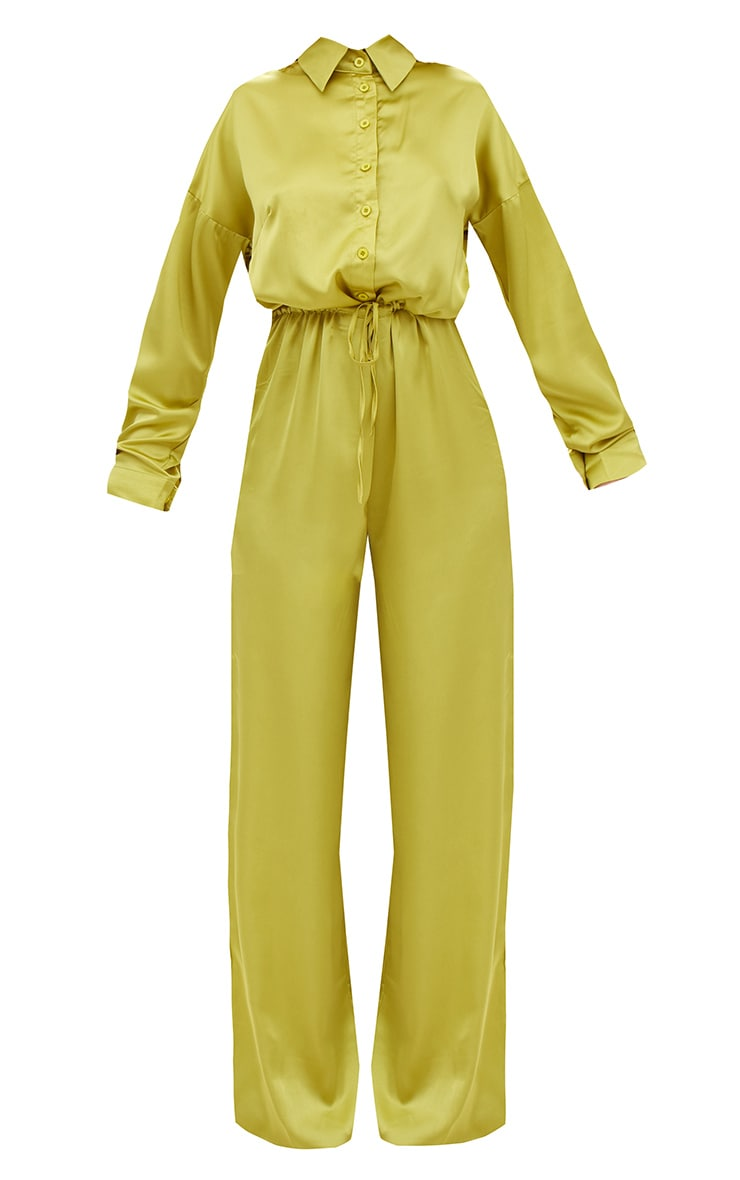 Lime Extreme Oversized Satin Wide Leg Jumpsuit  3