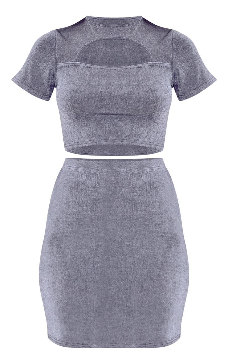 Grey Slinky Cut Out Top And Mini Skirt Set 3