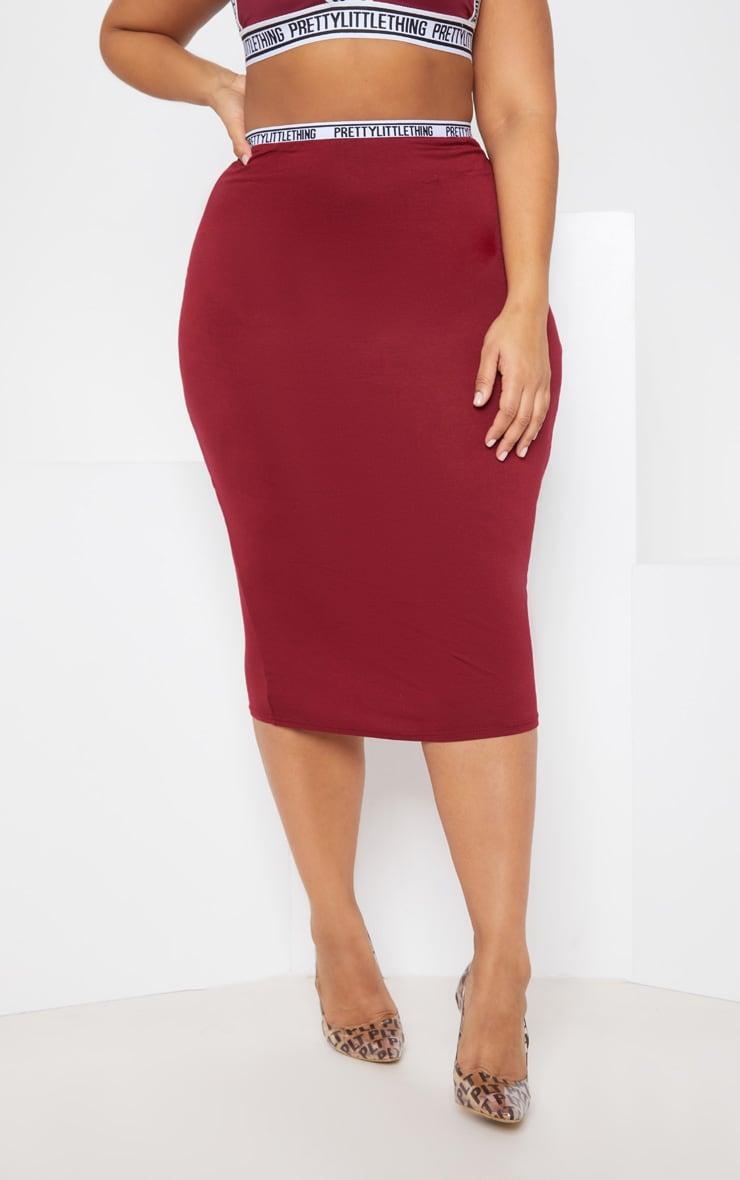 PRETTYLITTLETHING Plus Maroon Midi Skirt 4