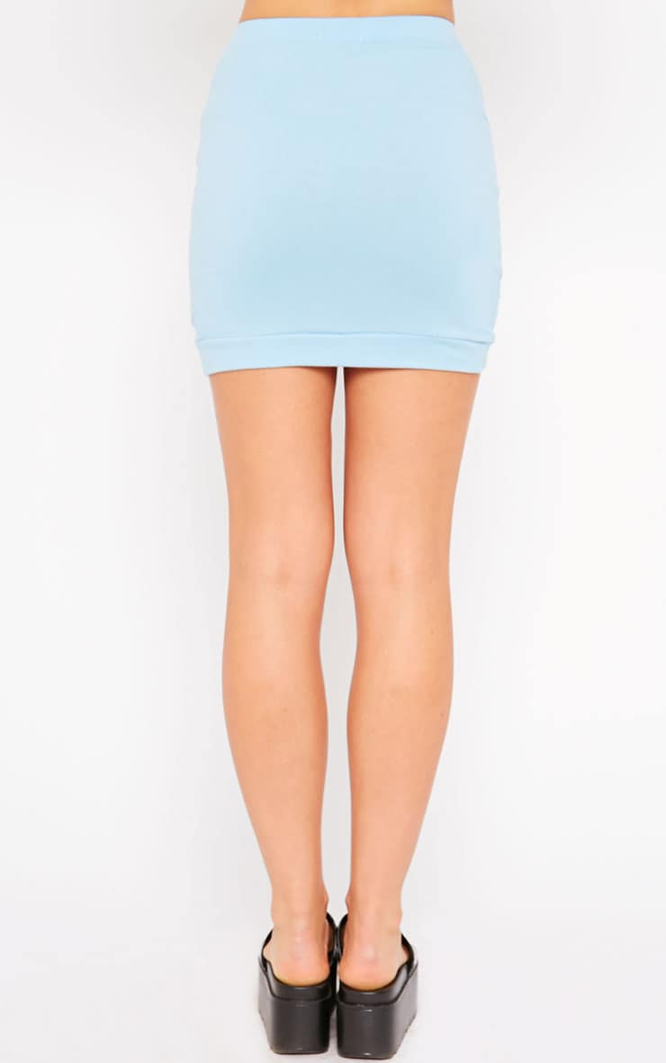 Phoenix Blue Curved Hem Mini Skirt 4