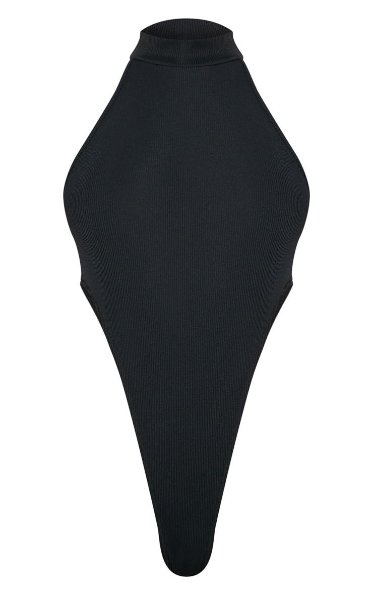 Black Roll Neck Extreme High Leg Bodysuit 3