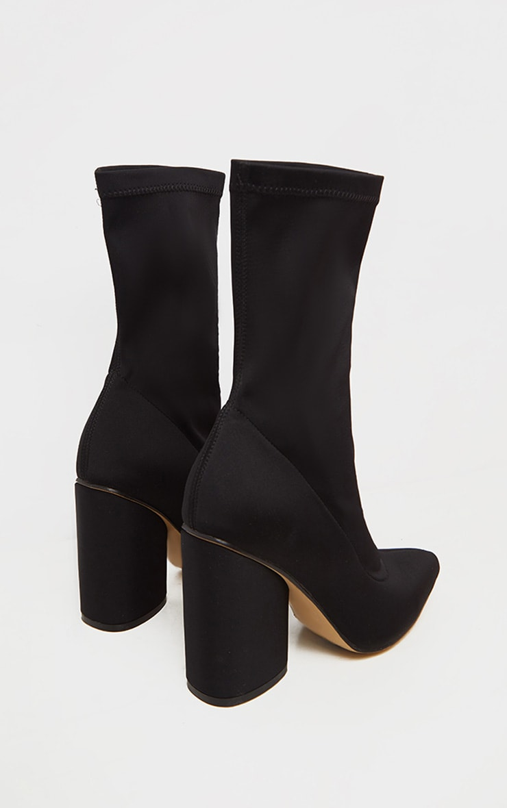 Black Chunky Block Heel Sock Boot 3
