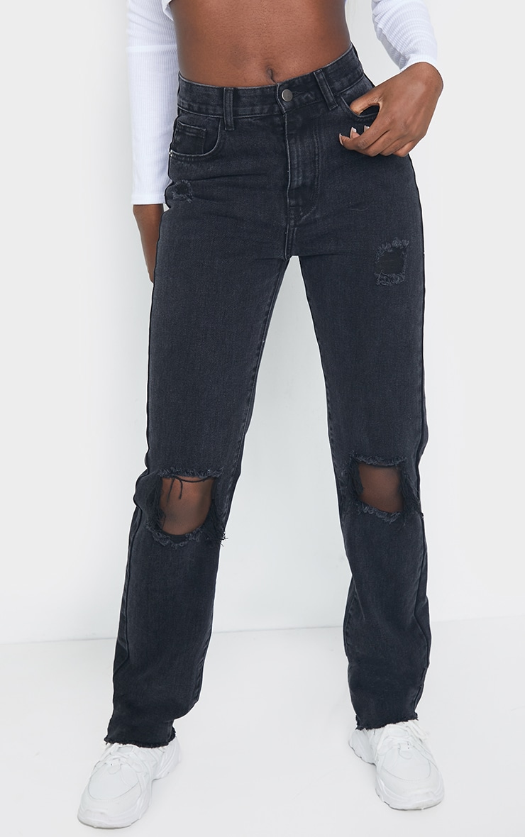 PRETTYLITTLETHING Tall Washed Black Distressed Long Leg Straight Jeans 2