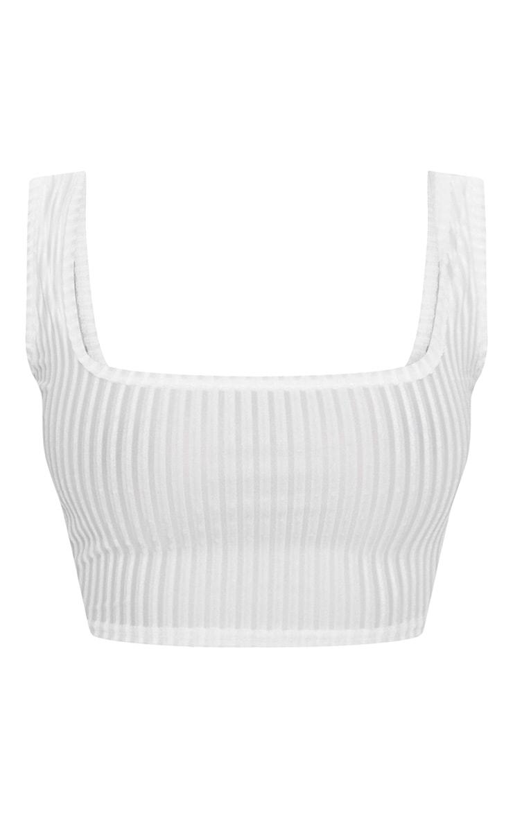 Shape White Striped Velvet Scoop Neck Crop Top 3