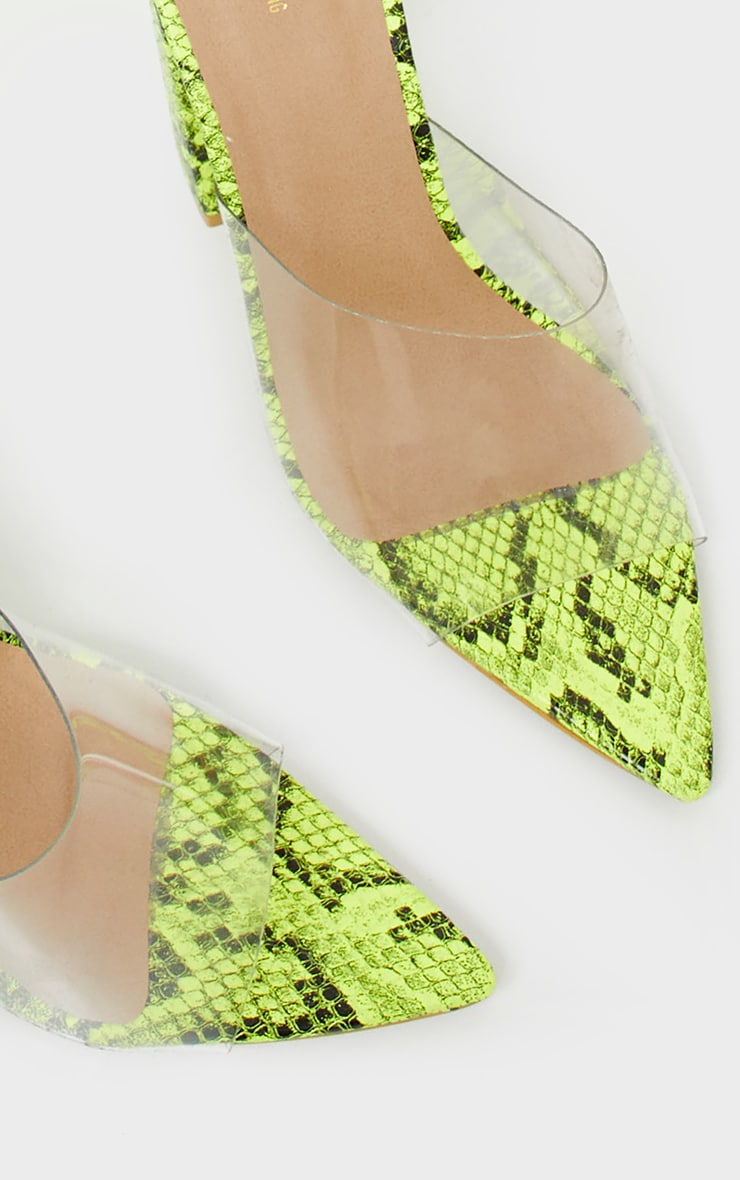 Lime Snake Block Heel Point Toe Mule 3