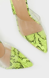 a24ed5cbbb7 Lime Snake Block Heel Point Toe Mule image 3