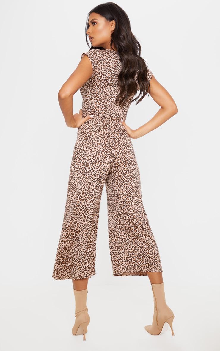 Tan Leopard Print Wrap Culotte Jumpsuit 2