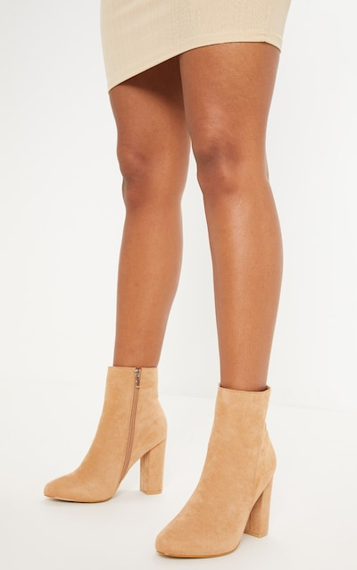 Behati Stone Faux Suede Ankle Boots
