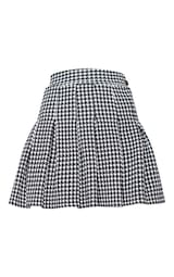 Black Dogtooth Pleated Side Split Tennis Skirt 3