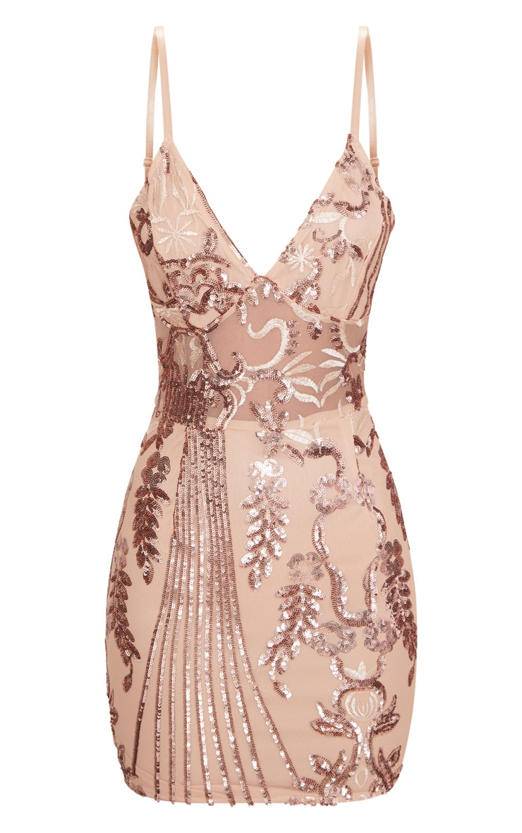 Rose Gold Strappy Sheer Panel Sequin Bodycon Dress 3