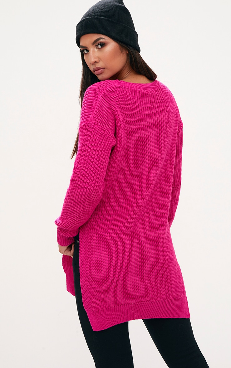 Pink Round Neck Side Split Jumper 2