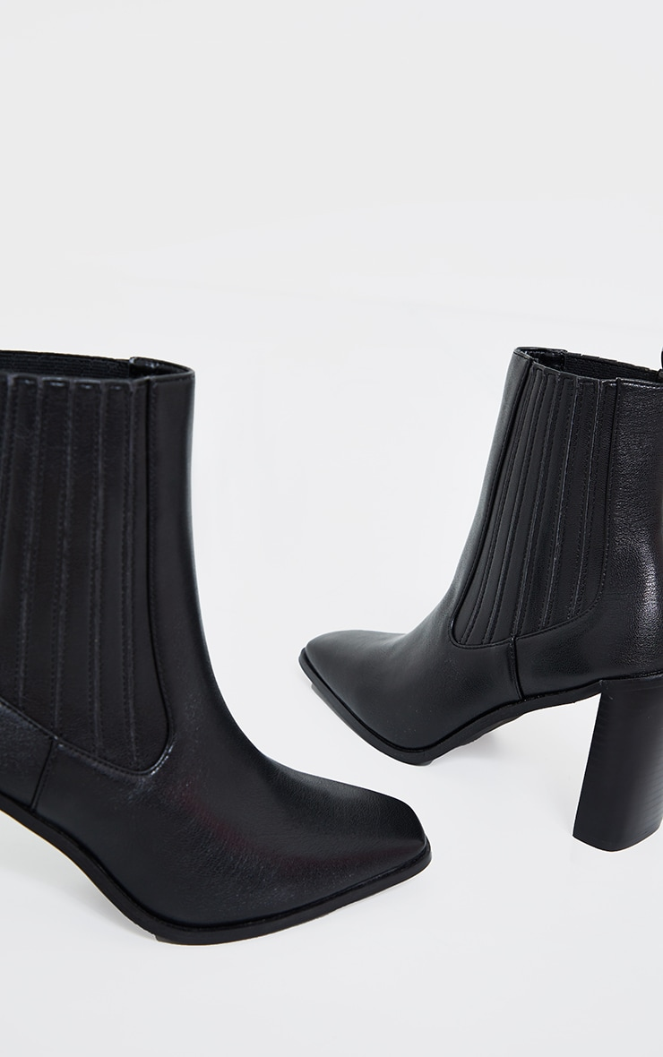 Black High Flat Block Heel Covered Chelsea Boot 4