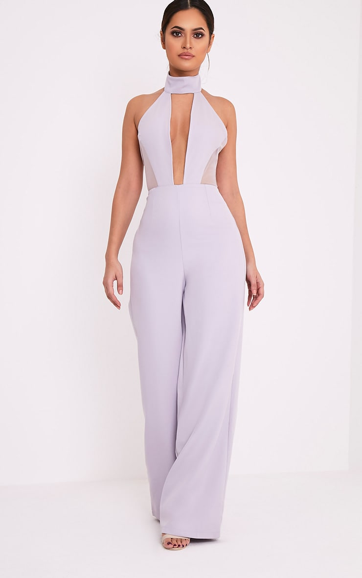Nonie Grey Choker Neck Mesh Panel Wide Leg Jumpsuit 4