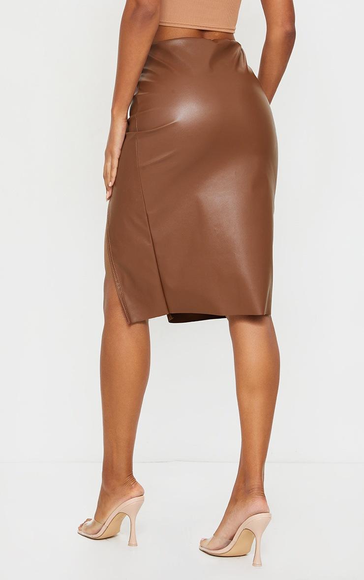 Camel Faux Leather Split Detail Midi Skirt 3