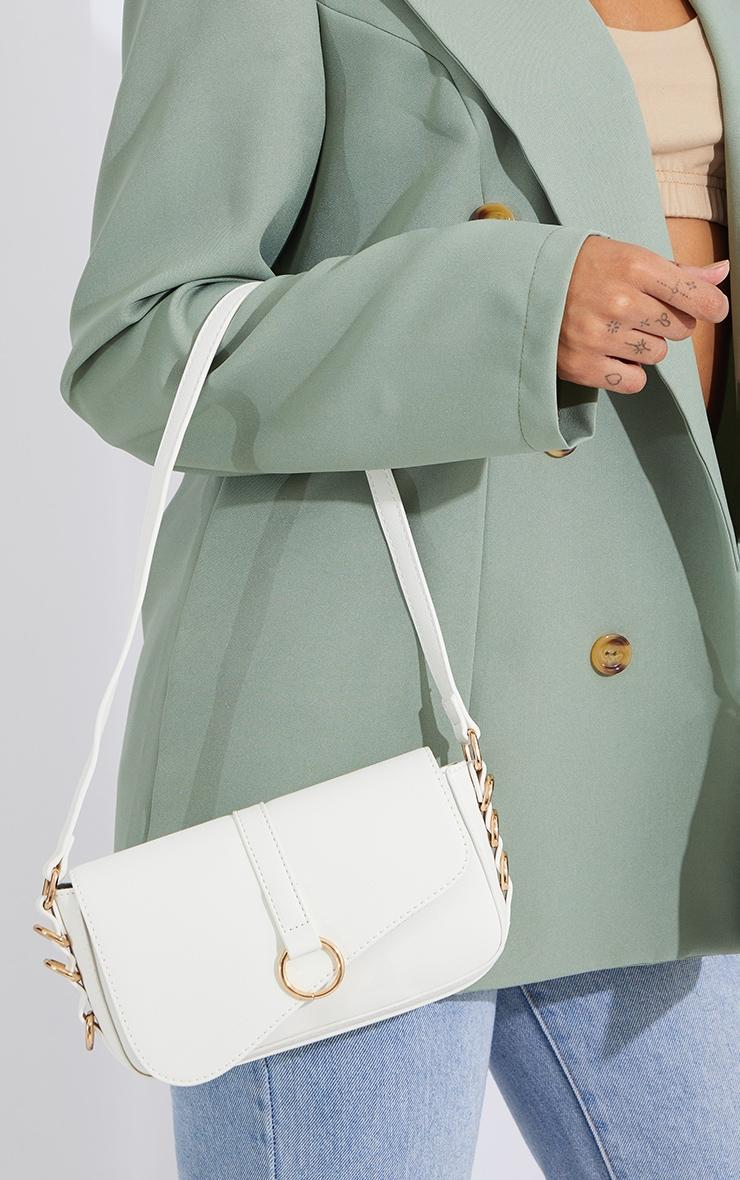 White PU Ring Detail Saddle Shoulder Bag 1